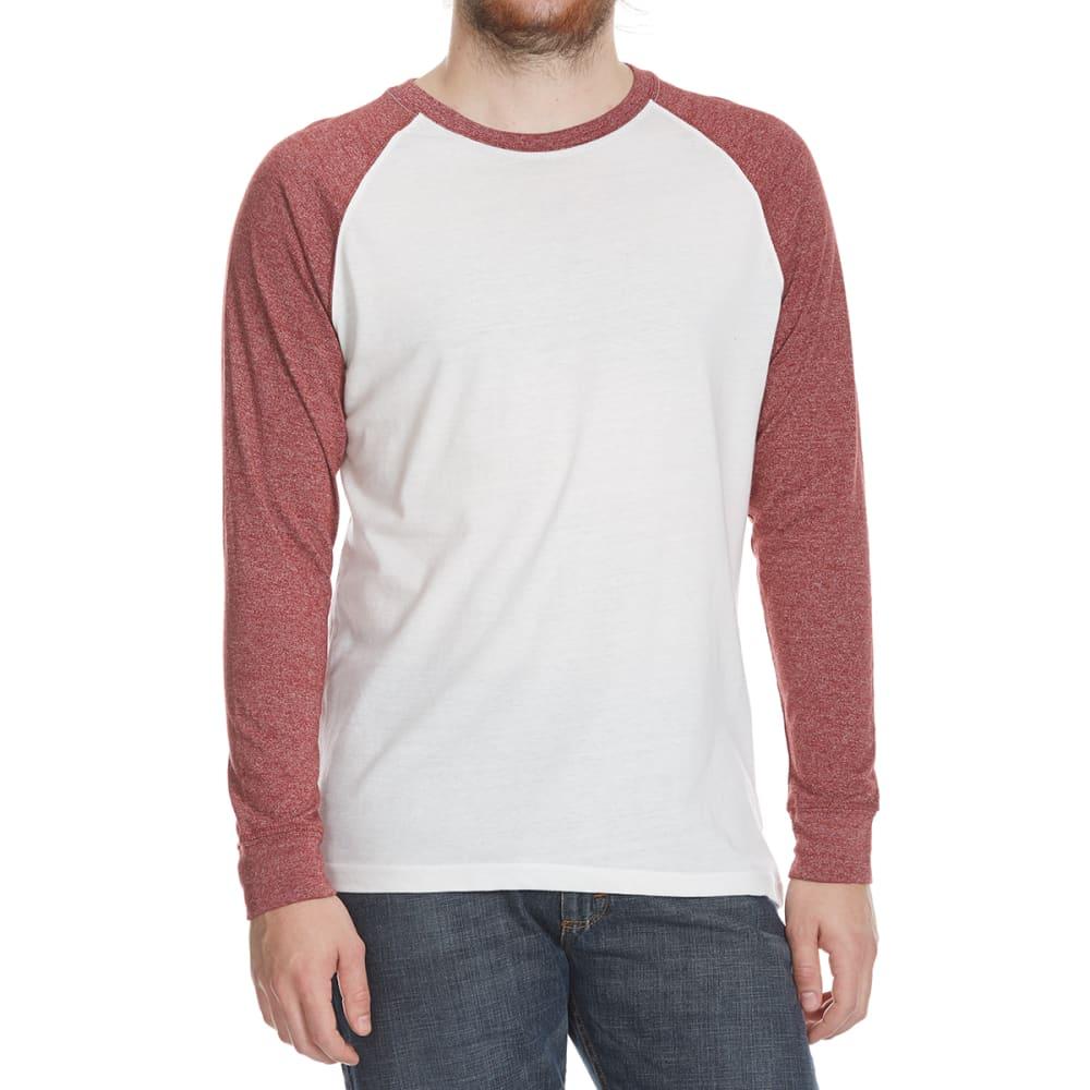 ALPHA BETA Guys' Raglan Crew Long-Sleeve Shirt - NAT/BRICK