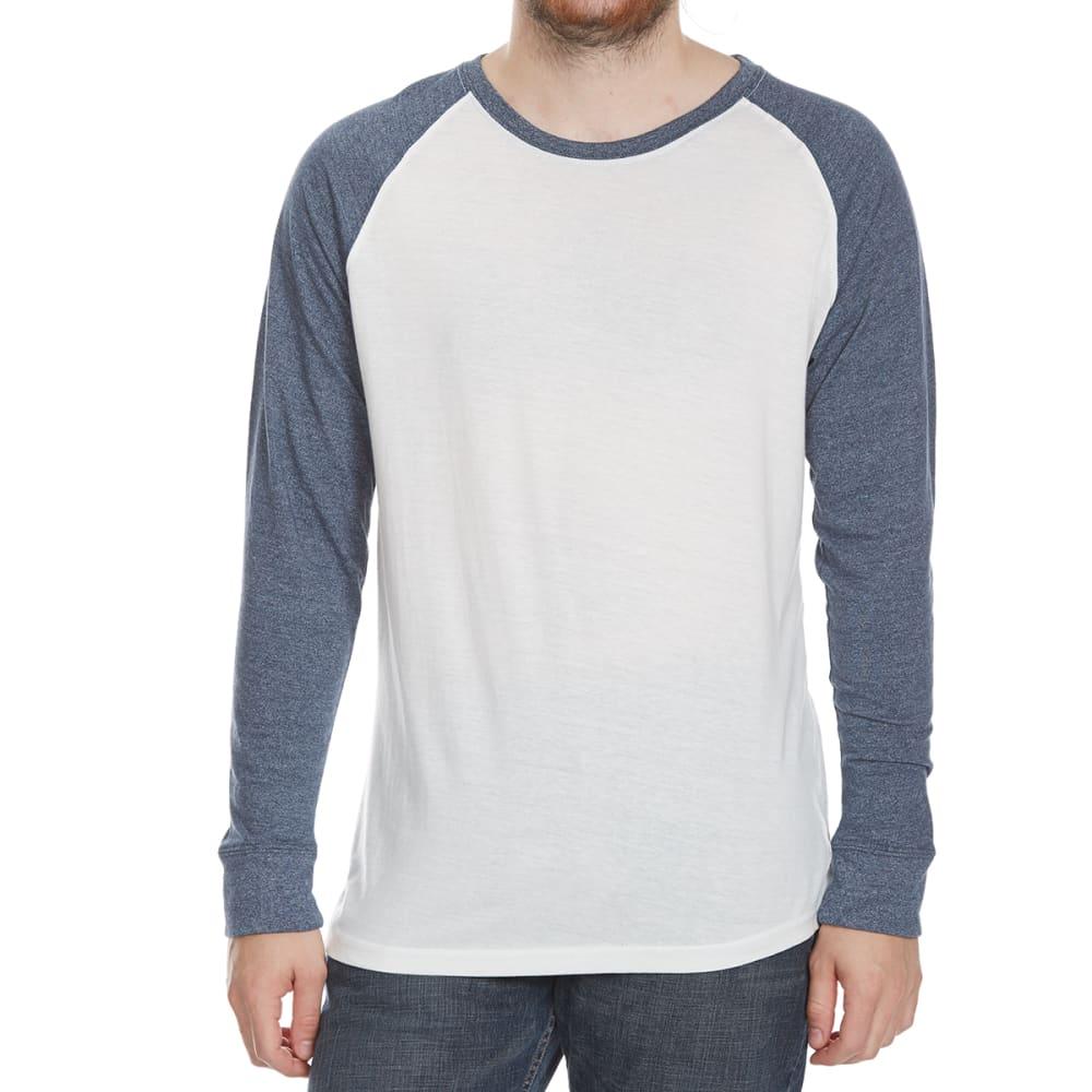 ALPHA BETA Guys' Raglan Crew Long-Sleeve Shirt - NAT/INDIGO