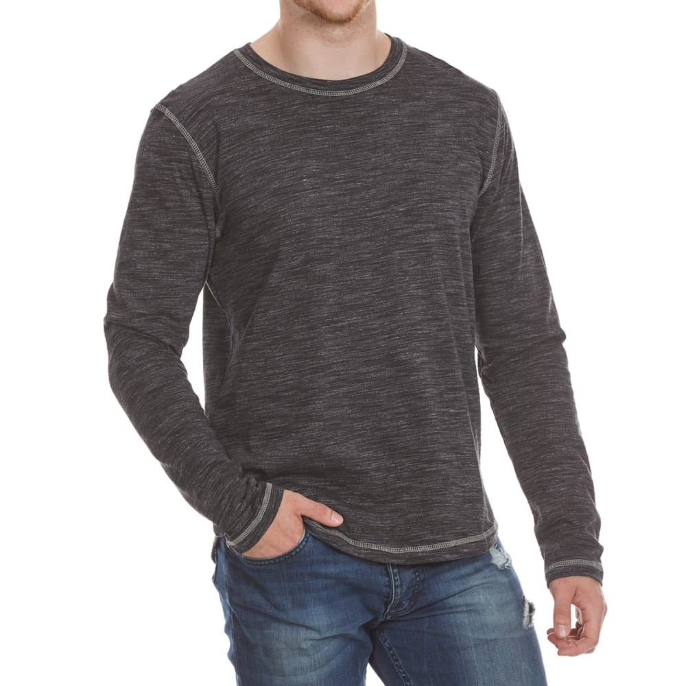 Alpha Beta Guys Raino Jersey Crew Long-Sleeve Tee - Black, M
