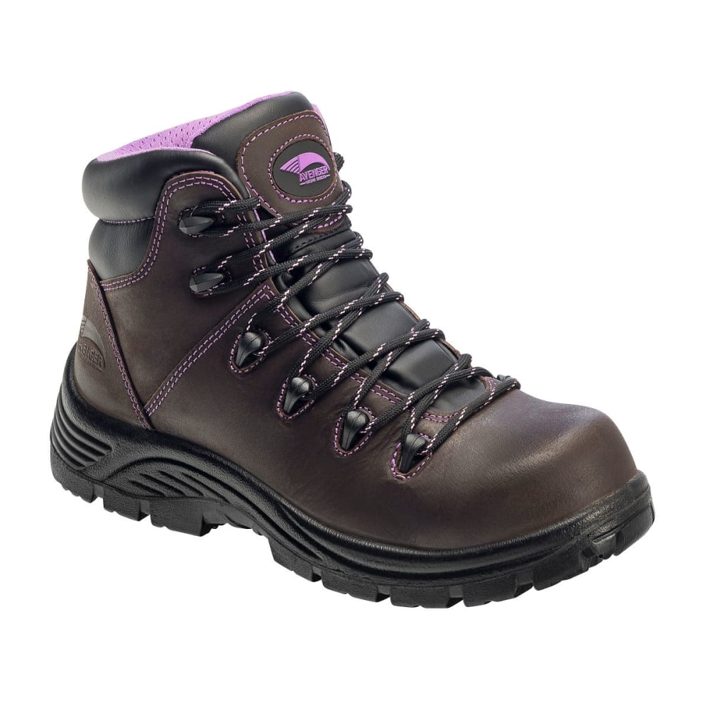 AVENGER Women's 7123 Comp Toe Waterproof Hiking Boots, Brown, Medium Width - BROWN