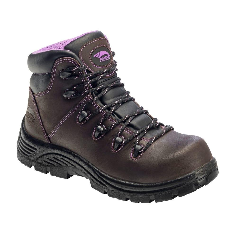 AVENGER Women's 7123 Comp Toe Waterproof Hiking Boots, Brown, Wide - BROWN