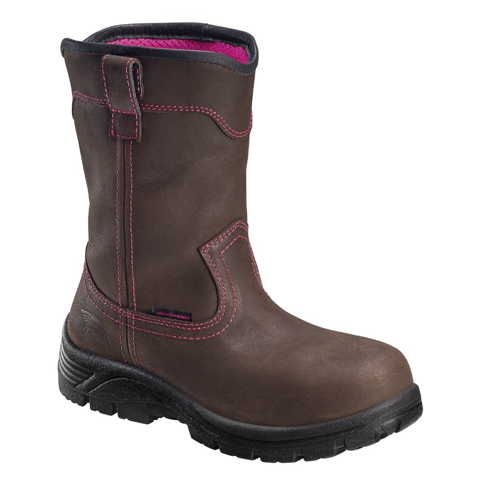 AVENGER Women's 7146 10 in. Comp Toe Waterproof Work Boots, Brown, Wide - BROWN