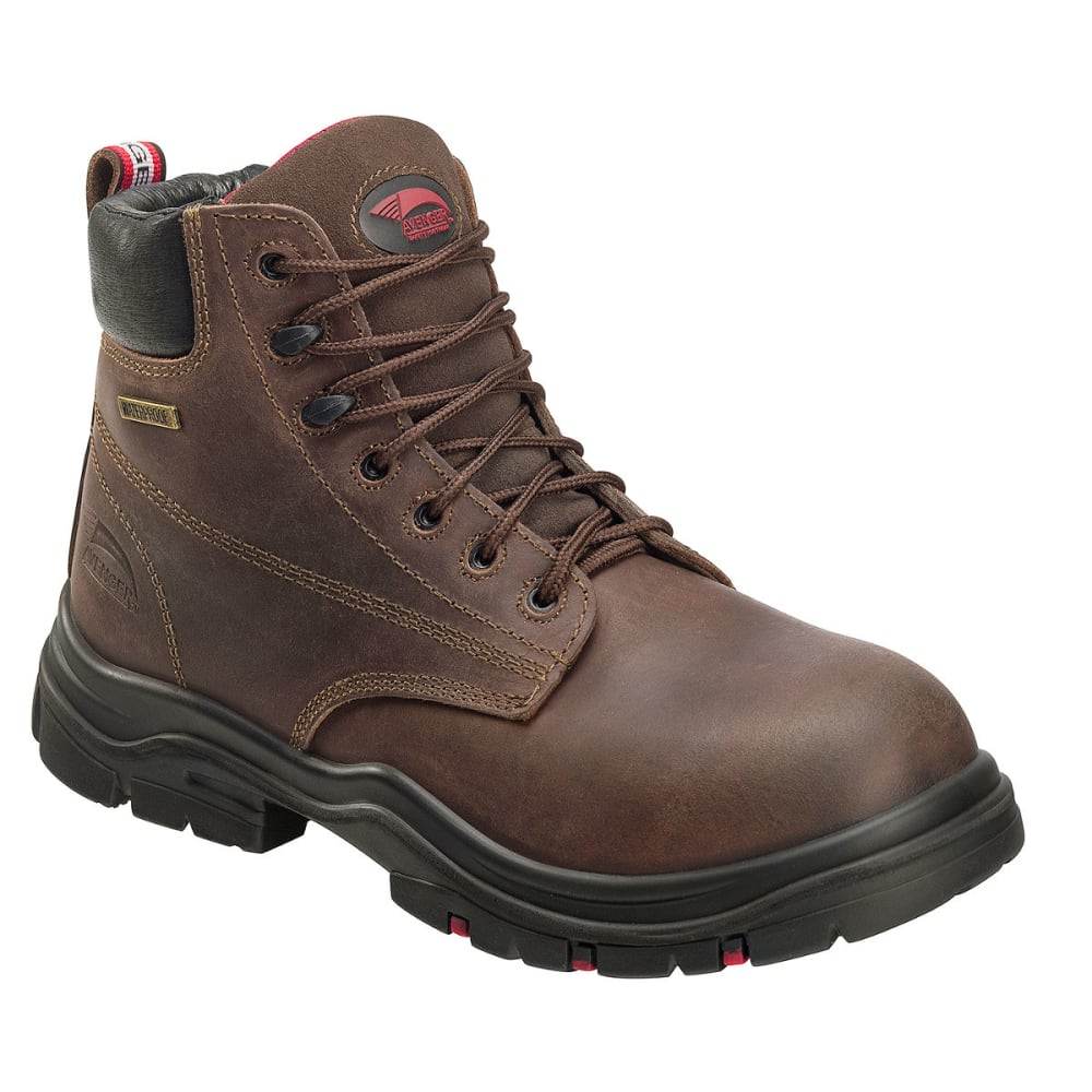 Avenger Men's 7219 6 In. Comp Toe Waterproof Work Boots, Brown, Medium Width