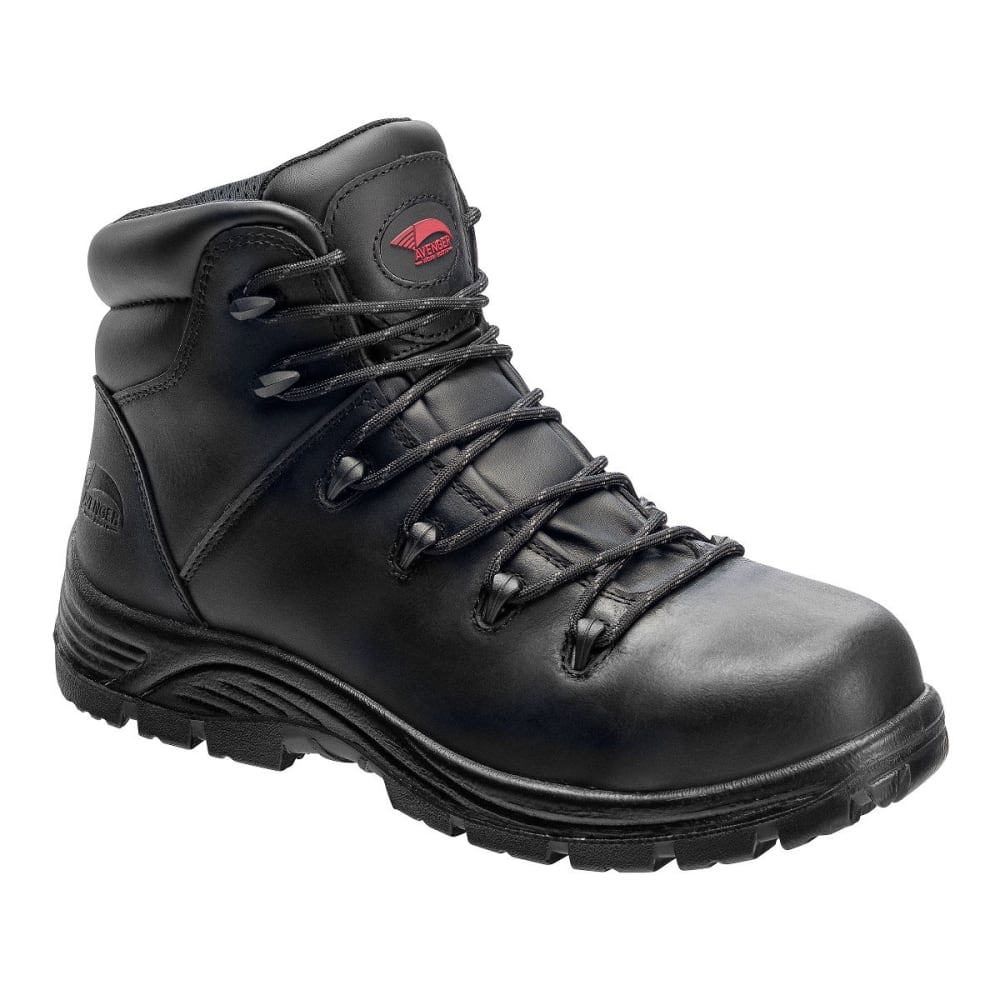 AVENGER Men's 7223 Leather Comp Toe Waterproof  Hiking Boots, Black, Wide - BLACK
