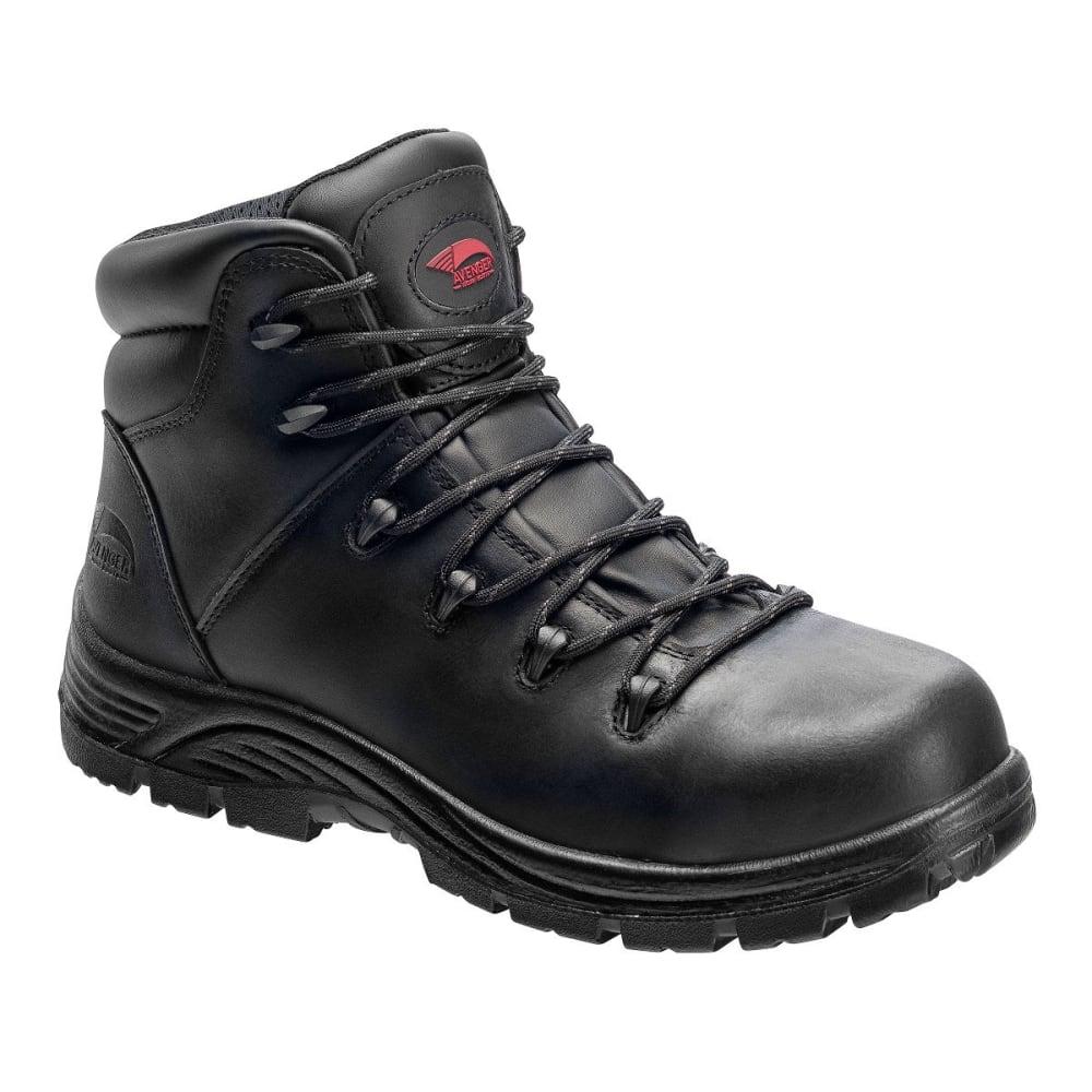 AVENGER Men's 7223 Leather Comp Toe Waterproof  Hiking Boots, Black, Wide - BLACK