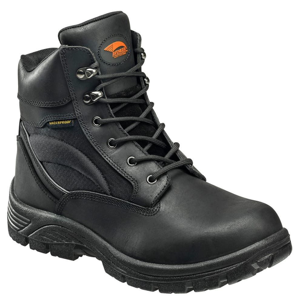 Avenger Men's 7227 6 In. Steel Safety Toe Waterproof Work Boots, Black, Wide