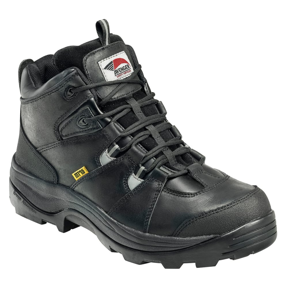 AVENGER Men's 7313 Leather Steel Safety Toe Work Boots, Black, Medium Width - BLACK