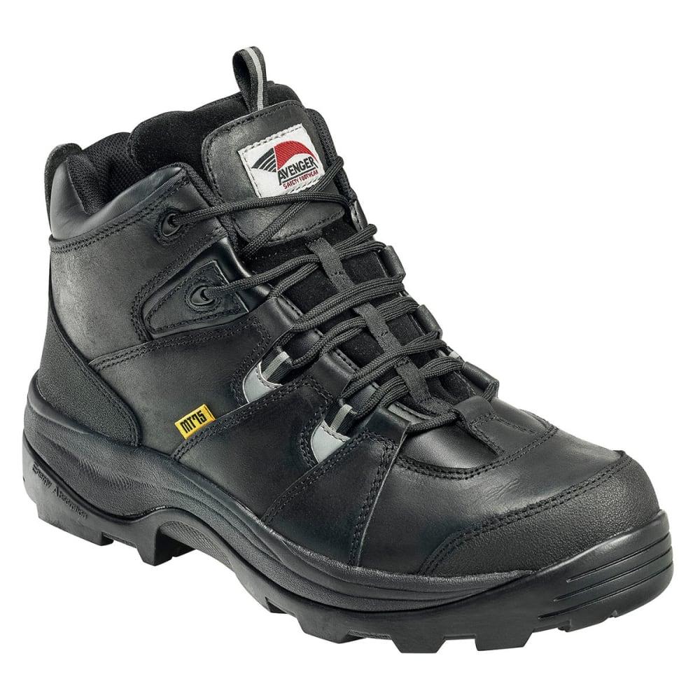 AVENGER Men's 7313 Leather Steel Safety Toe Work Boots, Black, Wide - BLACK
