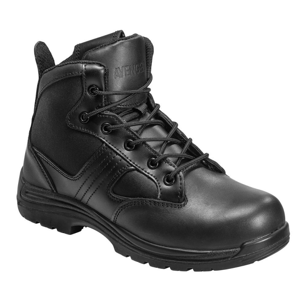 Avenger Men's 7418 Leather And Nylon Comp Toe Work Boots, Black, Wide