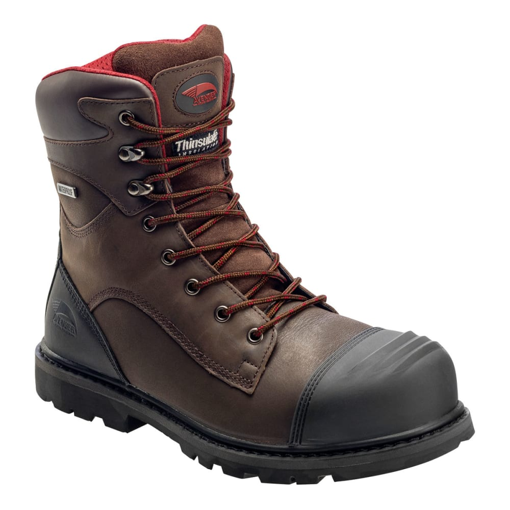 AVENGER Men's 7575 8 in. Carbon Toe Waterproof Work Boots, Brown, Medium Width 7