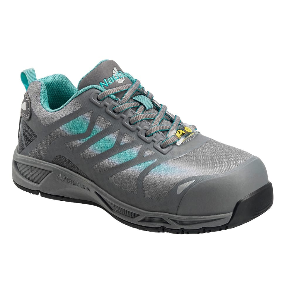 NAUTILUS Women's 2485 Advanced ESD Comp Toe Athletic Shoes, Grey, Wide 7