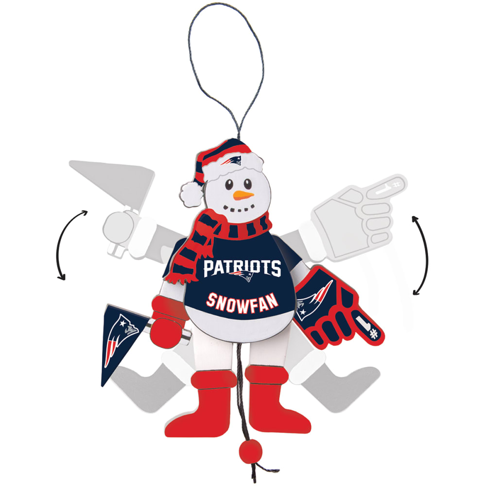 NEW ENGLAND PATRIOTS Wooden Cheering Snowman Ornament - NO COLOR