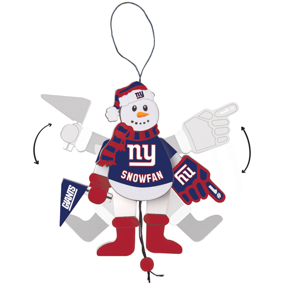 NEW YORK GIANTS Wooden Cheering Snowman Ornament - NO COLOR