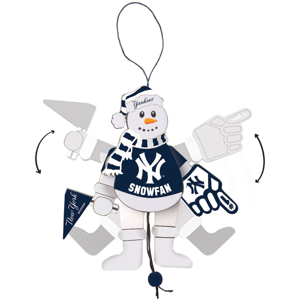 NEW YORK YANKEES Wooden Cheering Snowman Ornament - NO COLOR