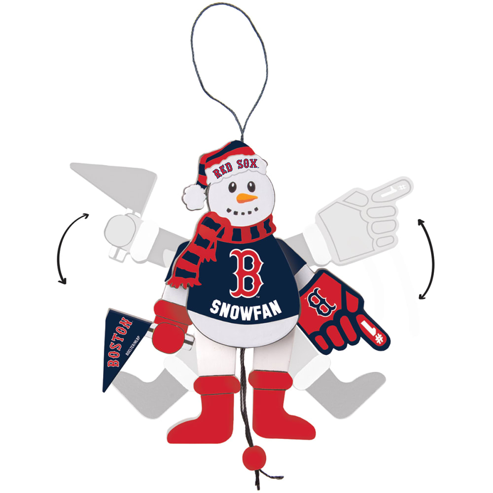 BOSTON RED SOX Wooden Cheering Snowman Ornament - NO COLOR