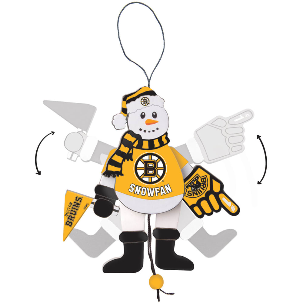 BOSTON BRUINS Wooden Cheering Snowman Ornament - NO COLOR