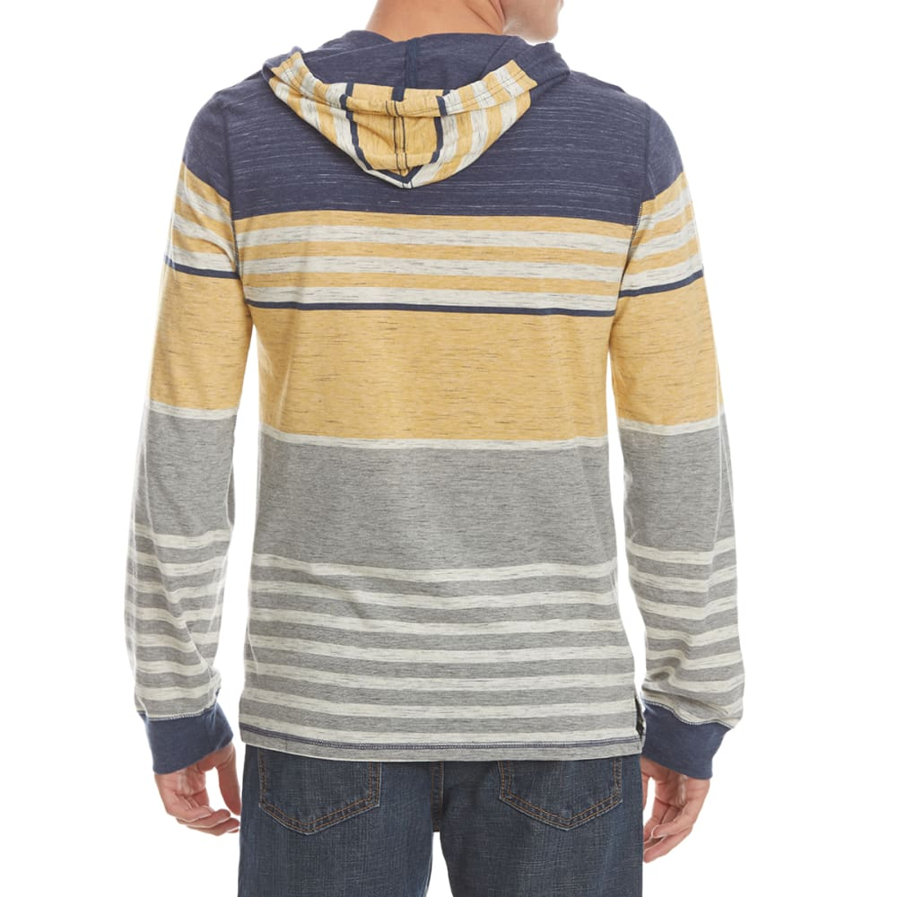 OCEAN CURRENT Guys' West Striped Jersey Hoodie Tee - INDIGO/GOLD