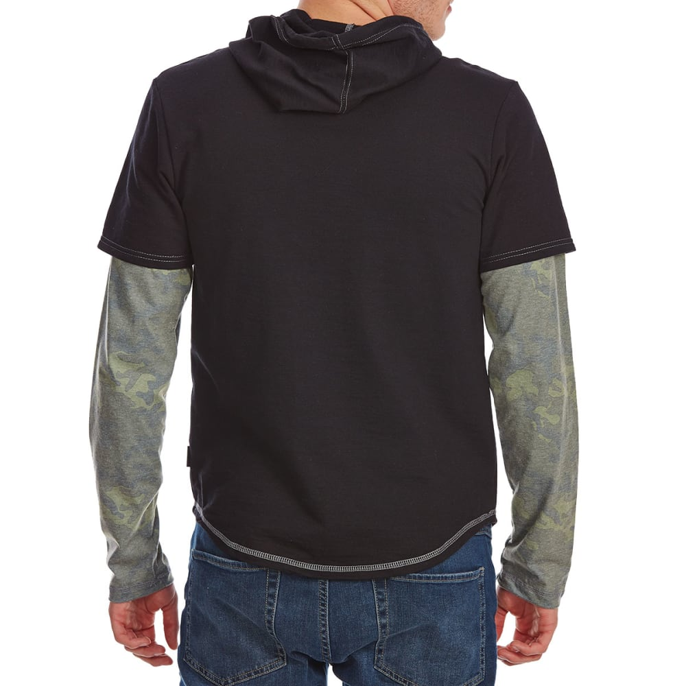 OCEAN CURRENT Guys' Awake 2-Fer Pullover Hoodie - BLACK/CAMO