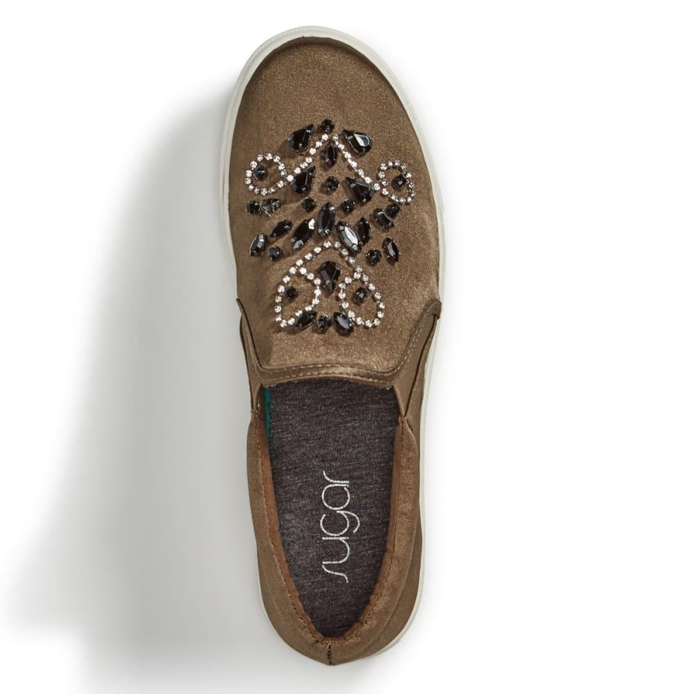 SUGAR Women's Grasshopper Embellished Slip-On Shoes, Olive - OLIVE GREEN