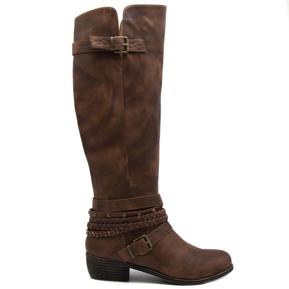 SUGAR Women's Tigger Belted Tall Boots, Cognac - COGNAC
