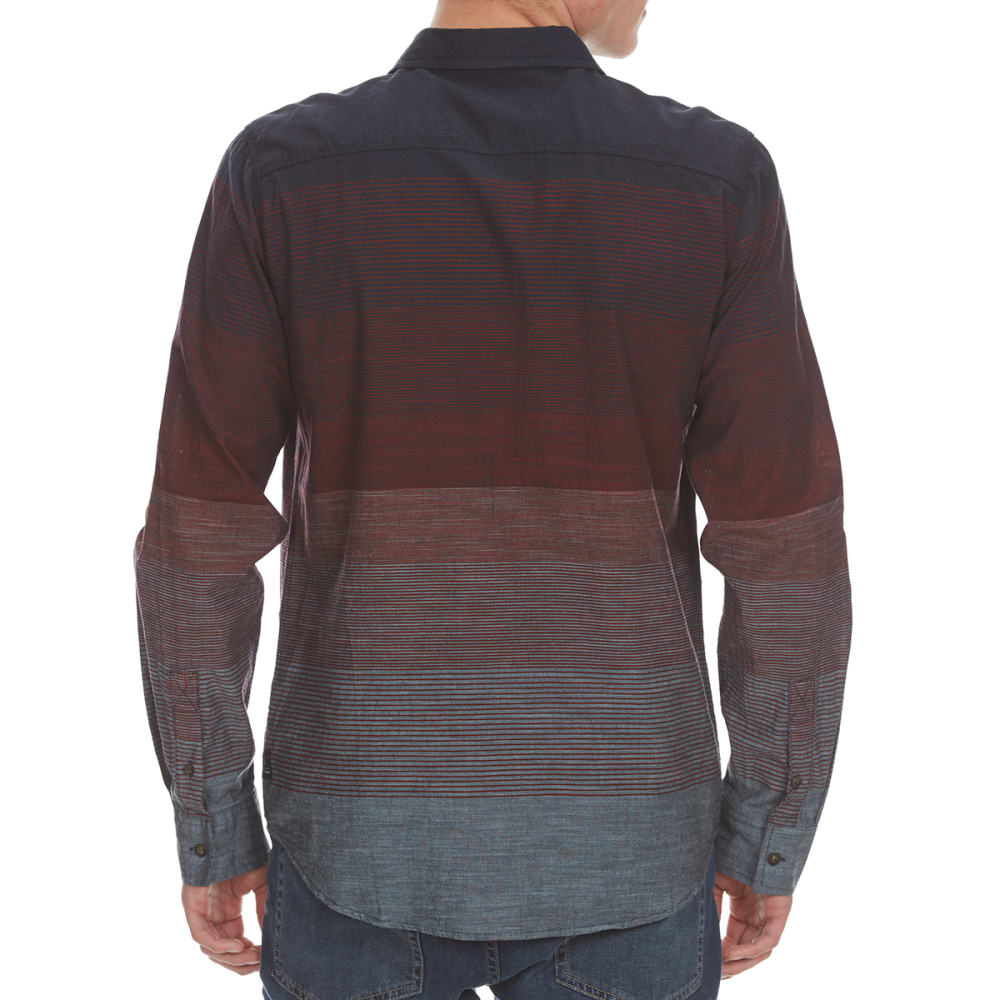 OCEAN CURRENT Guys' Highsystem Gradient Stripe Woven Long-Sleeve Shirt - BIKING RED
