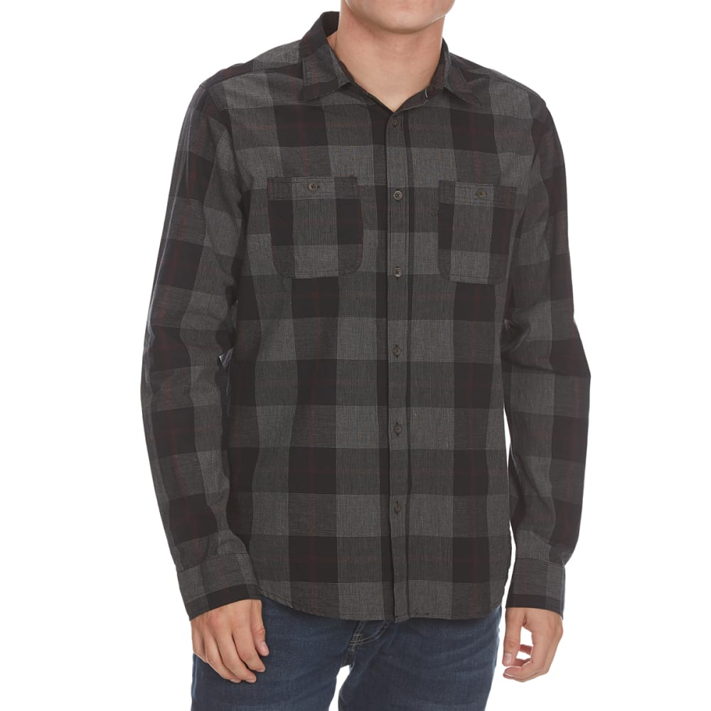 OCEAN CURRENT Guys' Off Road Plaid Long-Sleeve Shirt - BLACK
