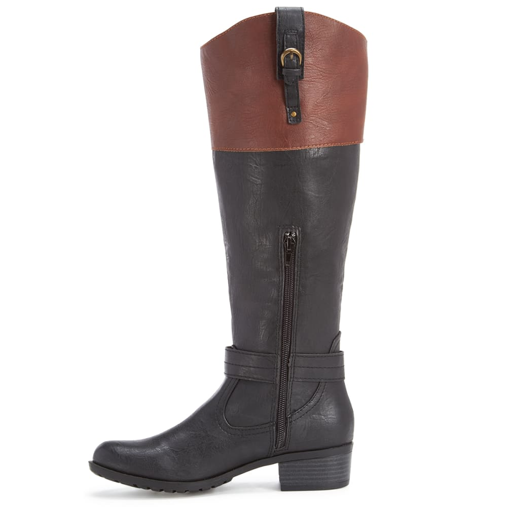 RAMPAGE Women's Ivelia Riding Boots, Black/Cognac - BLACK/COGNAC
