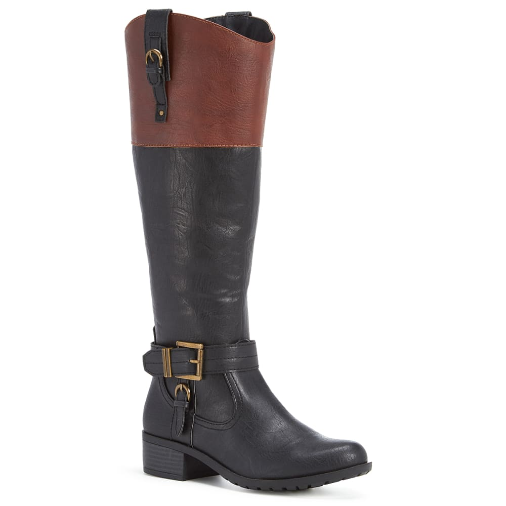 RAMPAGE Women's Ivelia Riding Boots, Black/Cognac, Wide - BLACK/COGNAC