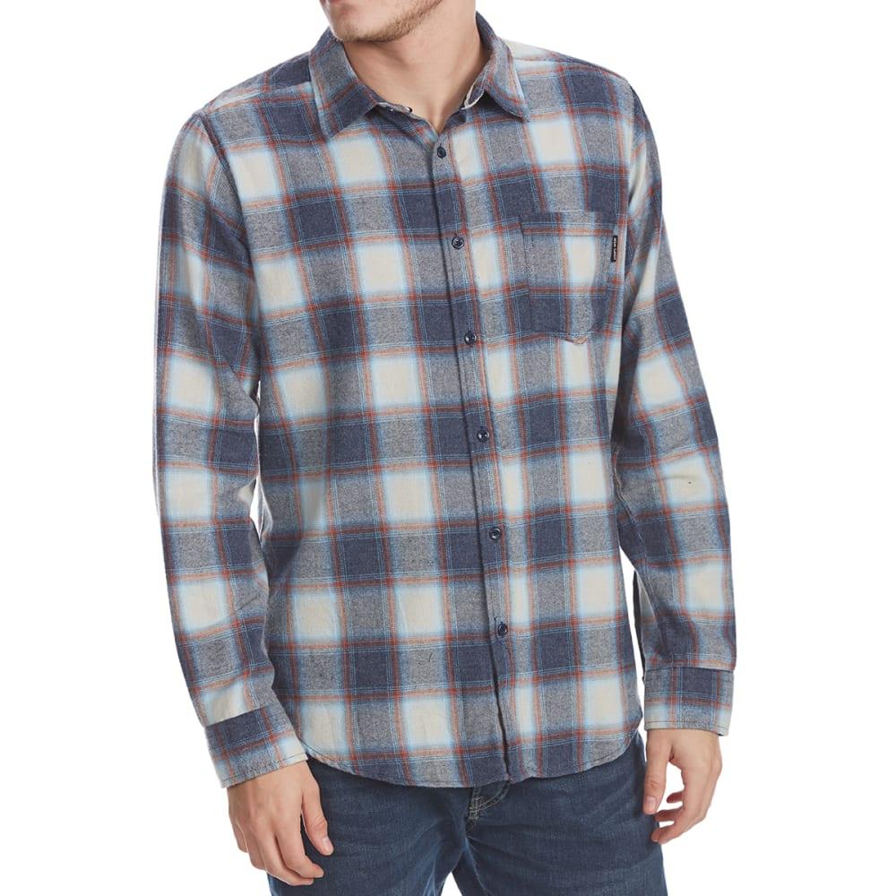 Ocean Current Guys' Marsh Plaid Long-Sleeve Flannel Shirt - Black, L
