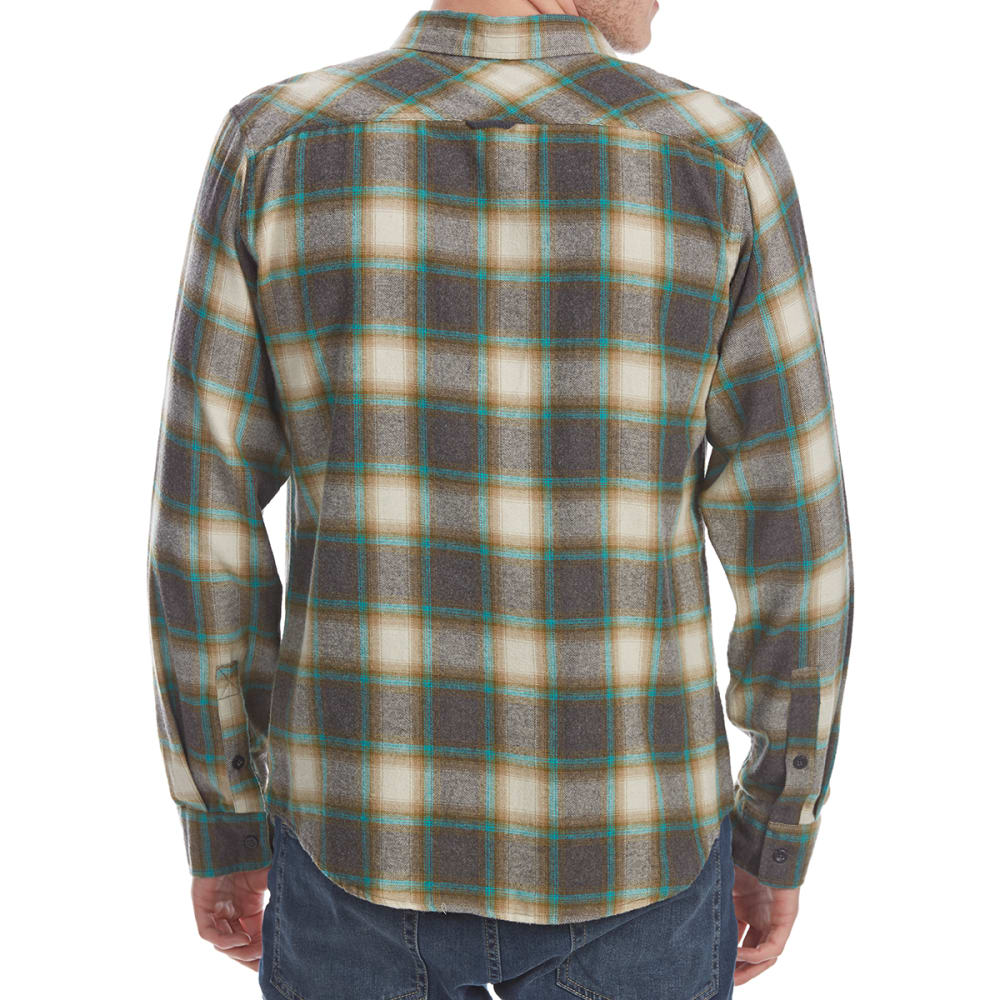 OCEAN CURRENT Guys' Marsh Plaid Long-Sleeve Flannel Shirt - FERN