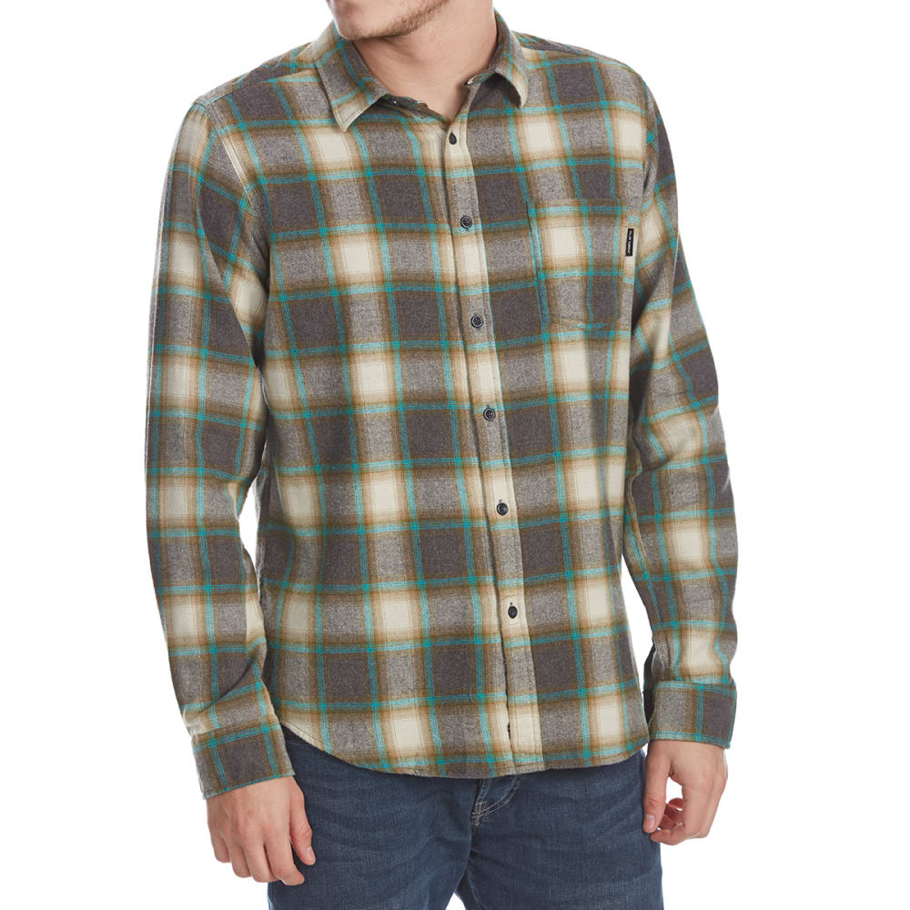 OCEAN CURRENT Guys' Marsh Plaid Long-Sleeve Flannel Shirt - FERN