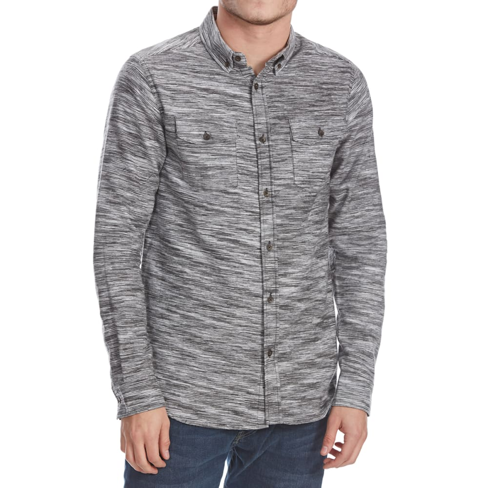 OCEAN CURRENT Guys' Winfield Space-Dye Flannel Long-Sleeve Shirt - BLACK