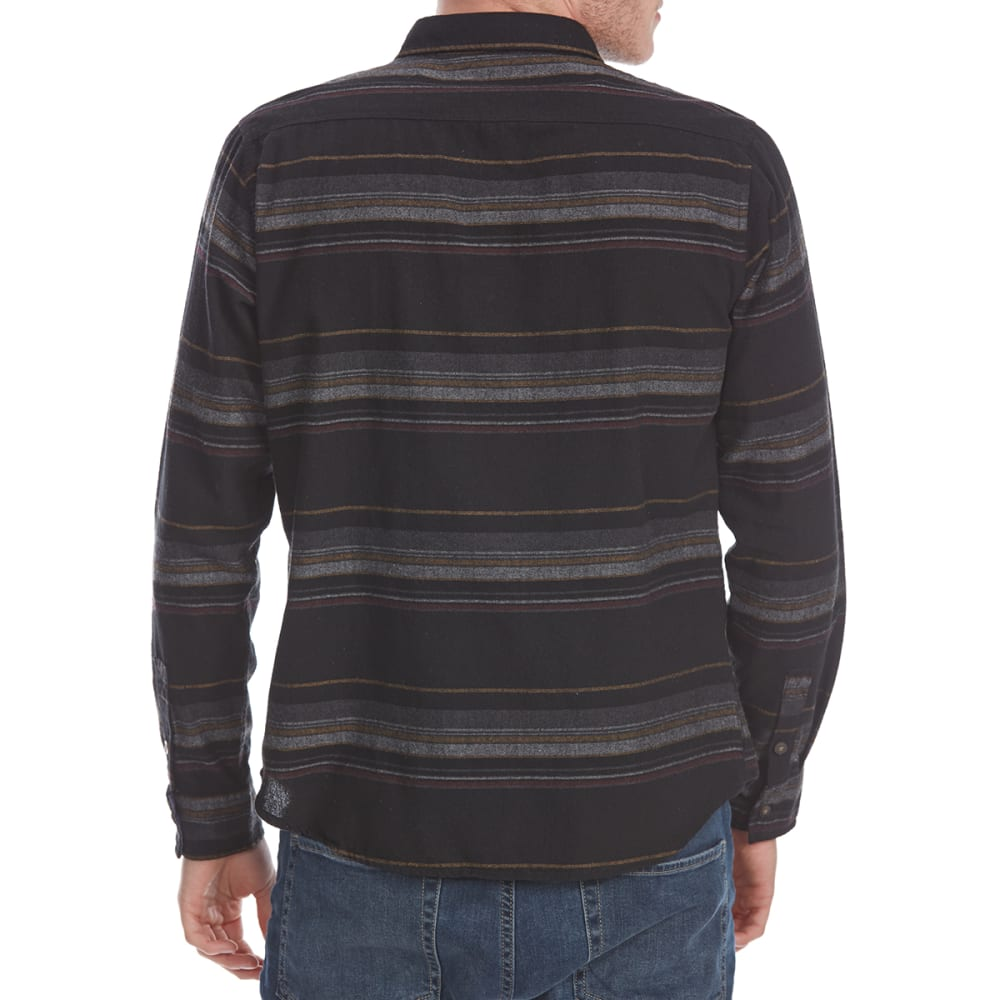 OCEAN CURRENT Guys' Urbane Stripe Flannel Long-Sleeve Shirt - BLACK
