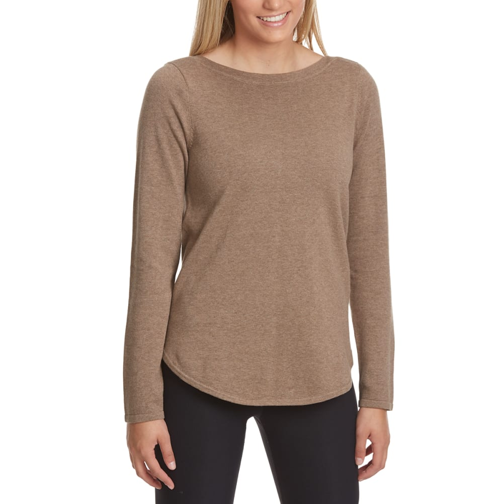 JEANNE PIERRE Women's Solid Boat Neck Sweater - TAUPE HEATHER