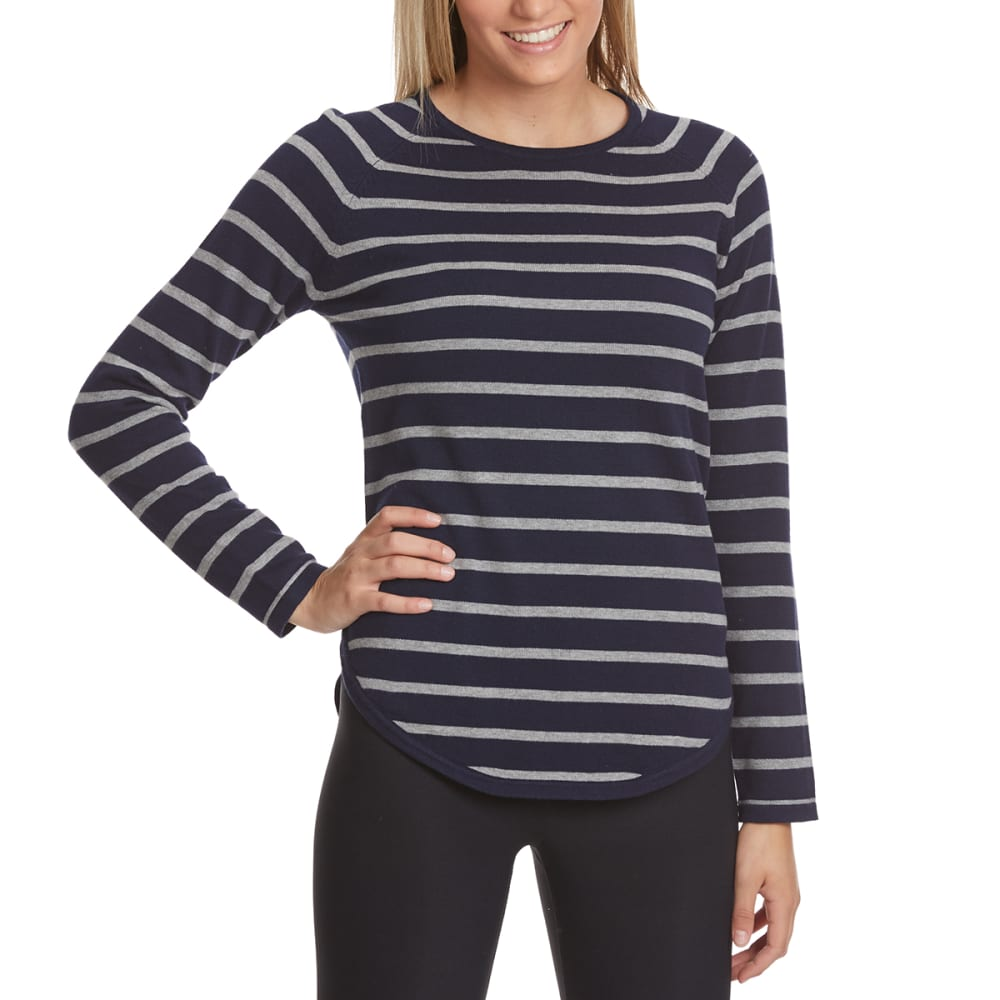 JEANNE PIERRE Women's Mini-Stripe Round Hem Sweater - INK/FLANNEL COMBO