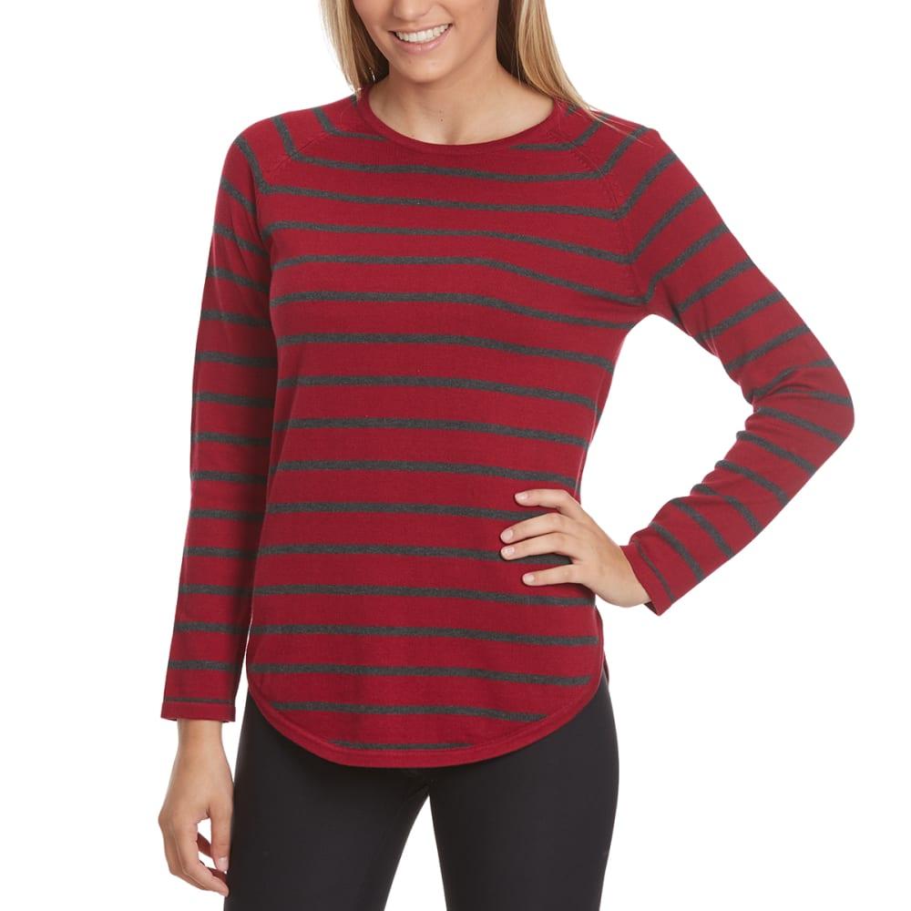 JEANNE PIERRE Women's Mini-Stripe Round Hem Sweater - RED CURRENT COMBO