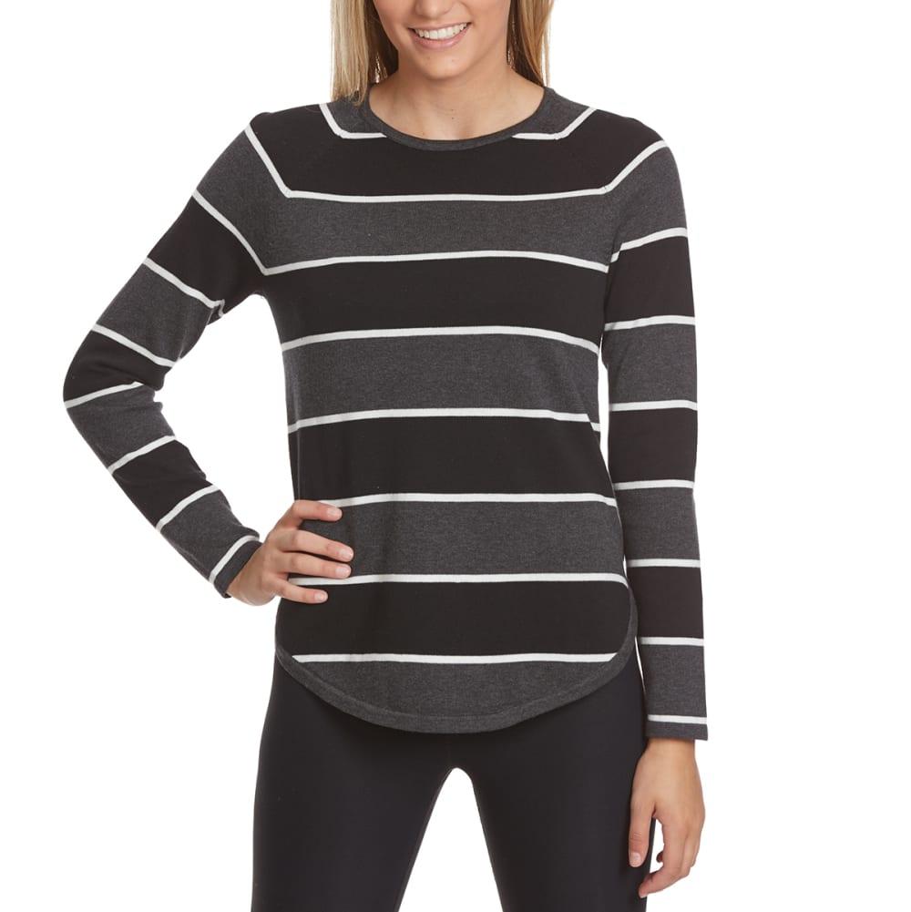 JEANNE PIERRE Women's Multi-Stripe Round Hem Sweater - CHAR BLACK COMBO