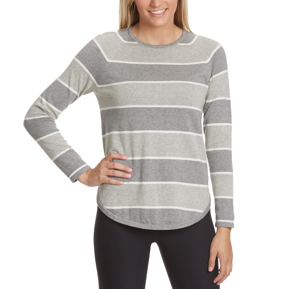 JEANNE PIERRE Women's Multi-Stripe Round Hem Sweater - FLANNEL SILVER GRY C