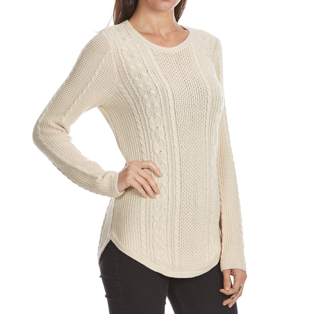 JEANNE PIERRE Women's Cable Knit Round Hem Sweater - LT BEIGE HEATHER
