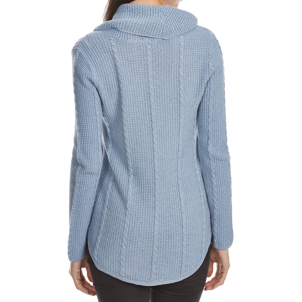 JEANNE PIERRE Women's Cowl Cable Kit Sweater - CHAMBRAY HEATHER