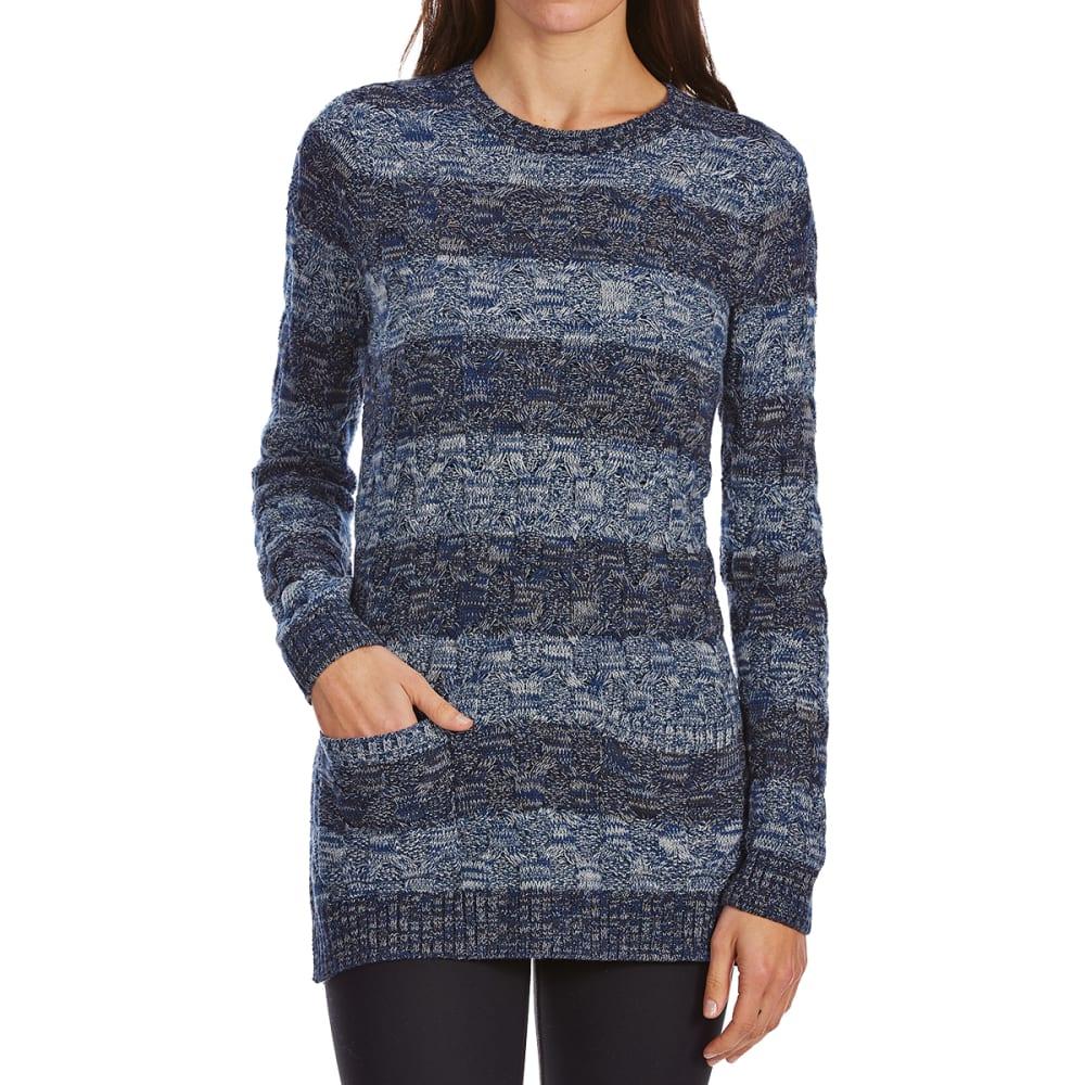 JEANNE PIERRE Women's Cable Striped Front Pocket Long-Sleeve Sweater - BLUE DENIM COMBO