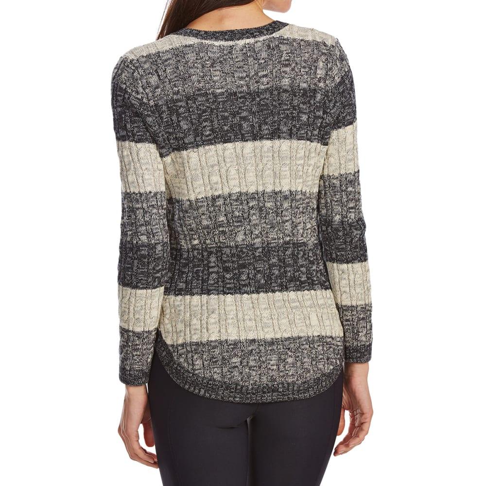 JEANNE PIERRE Women's Cable Color-Block Long-Sleeve Sweater - BLACK COMBO