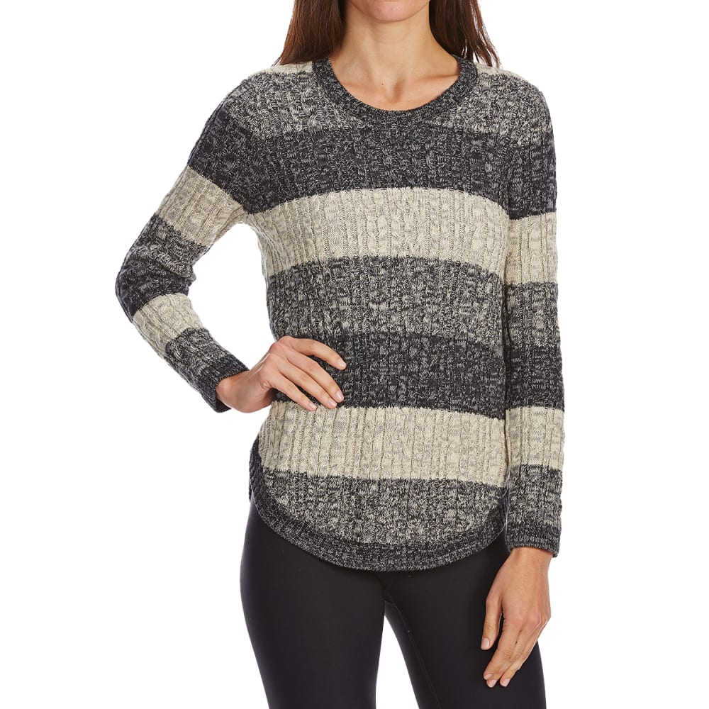 JEANNE PIERRE Women's Cable Color-Block Long-Sleeve Sweater - BLACK COMBO