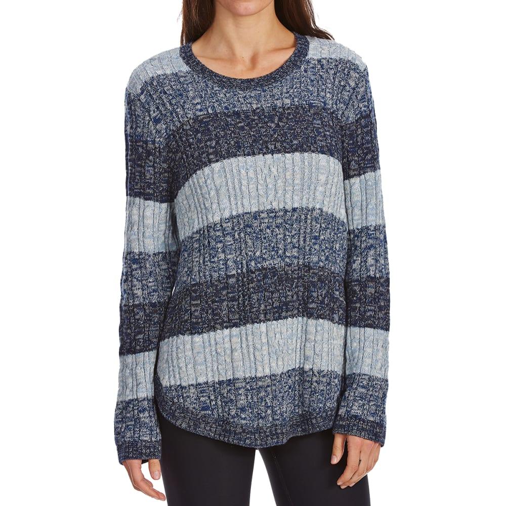 JEANNE PIERRE Women's Cable Color-Block Long-Sleeve Sweater - BLUE COMBO