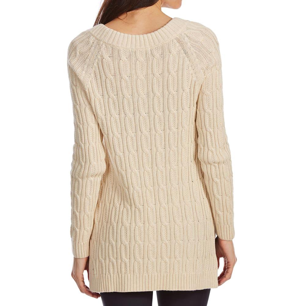 JEANNE PIERRE Women's Ballet Neck Cable Knit Long-Sleeve Sweater - LT BEIGE HEATHER