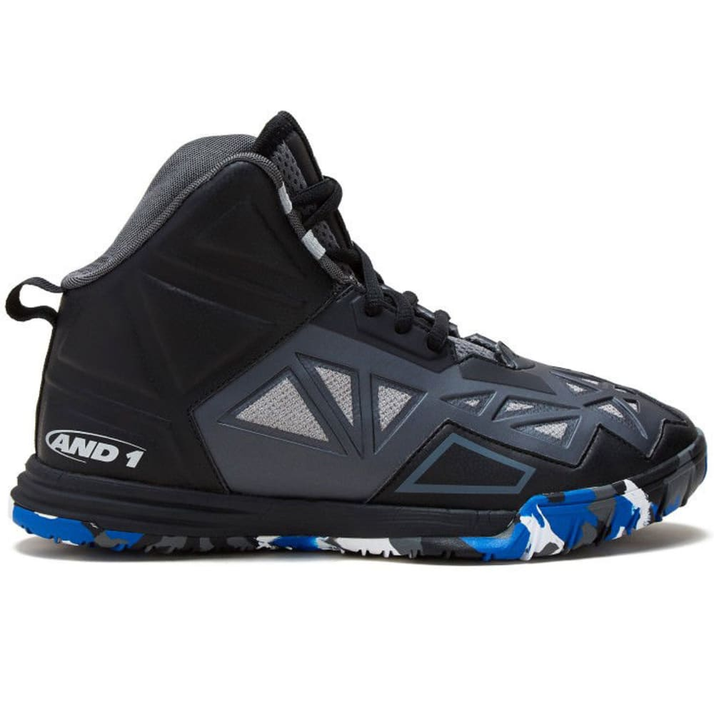 AND1 Big Boys' Chaos Basketball Shoes, Black/Castlerock/Silver - BLACK-BVS