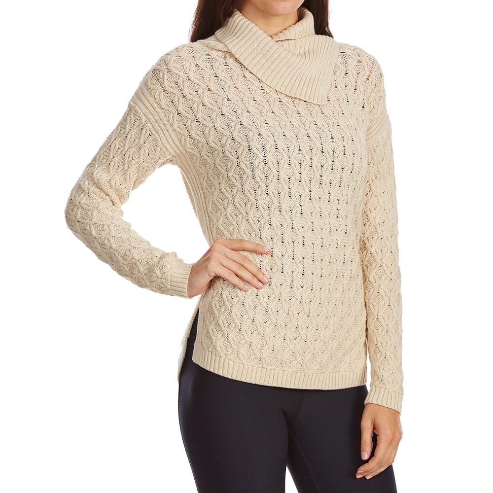 JEANNE PIERRE Women's Cable Wrap Neck Long-Sleeve Sweater - LT BEIGE HEATHER