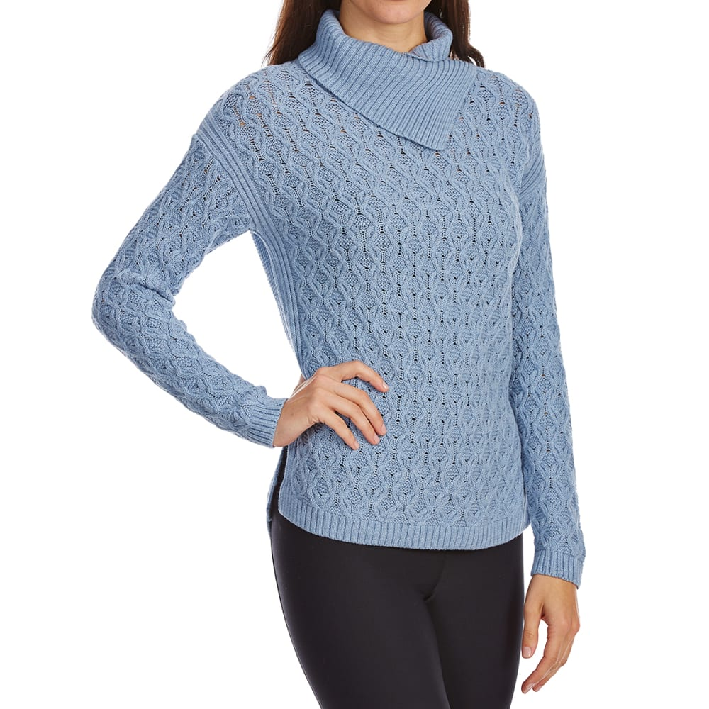 JEANNE PIERRE Women's Cable Wrap Neck Long-Sleeve Sweater - CHAMBRAY