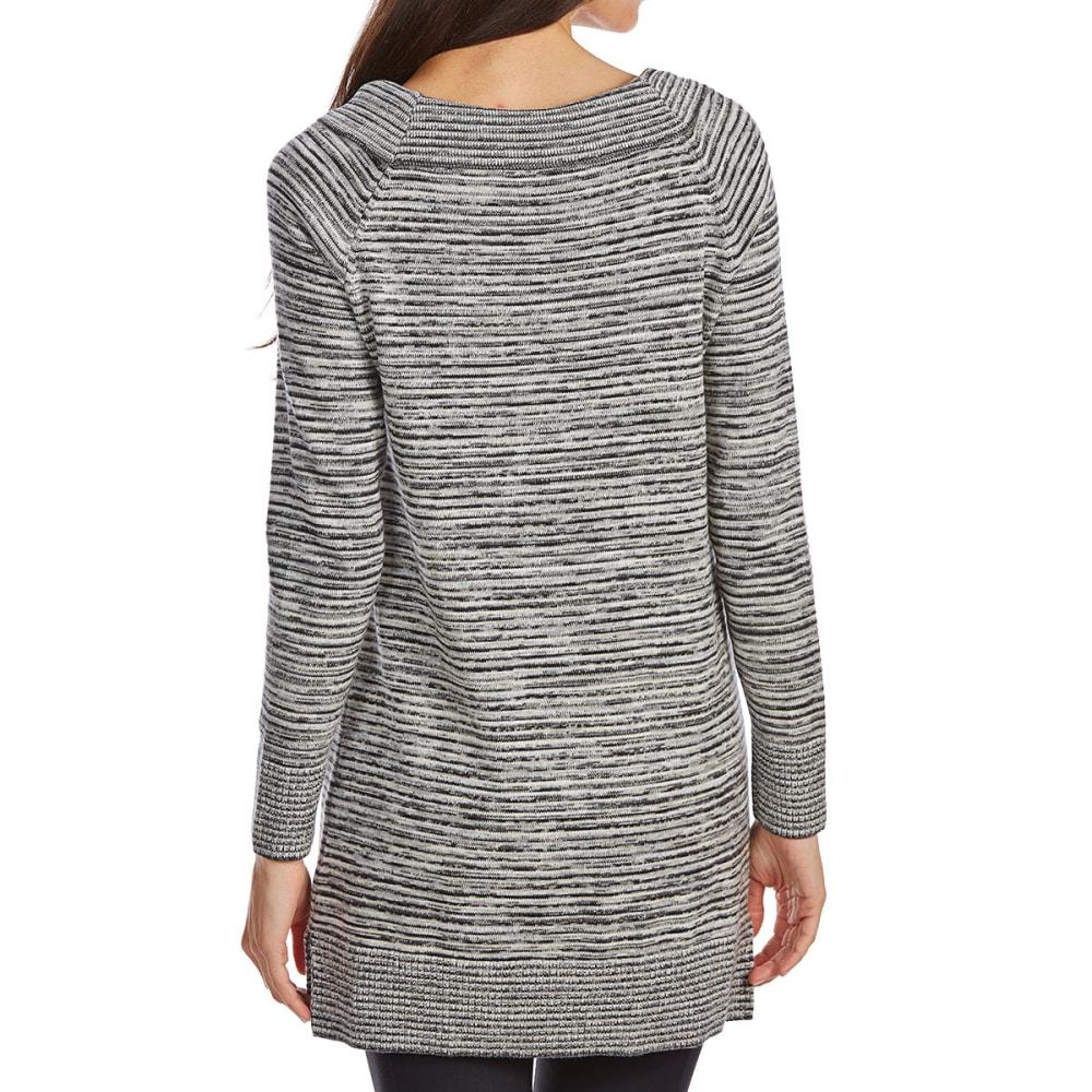JEANNE PIERRE Women's Ballet Neck Striped Long-Sleeve Sweater - BLACK