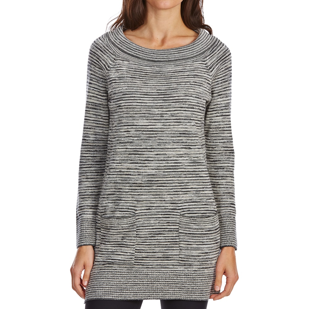 JEANNE PIERRE Women's Ballet Neck Striped Long-Sleeve Sweater - BLACK